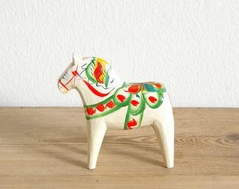 Vintage white Dala horse Swedish.Swedish folk art.Collectible Dala wooden horse.Home decor.Swedish decor.Handcarved horse.Nursery decor