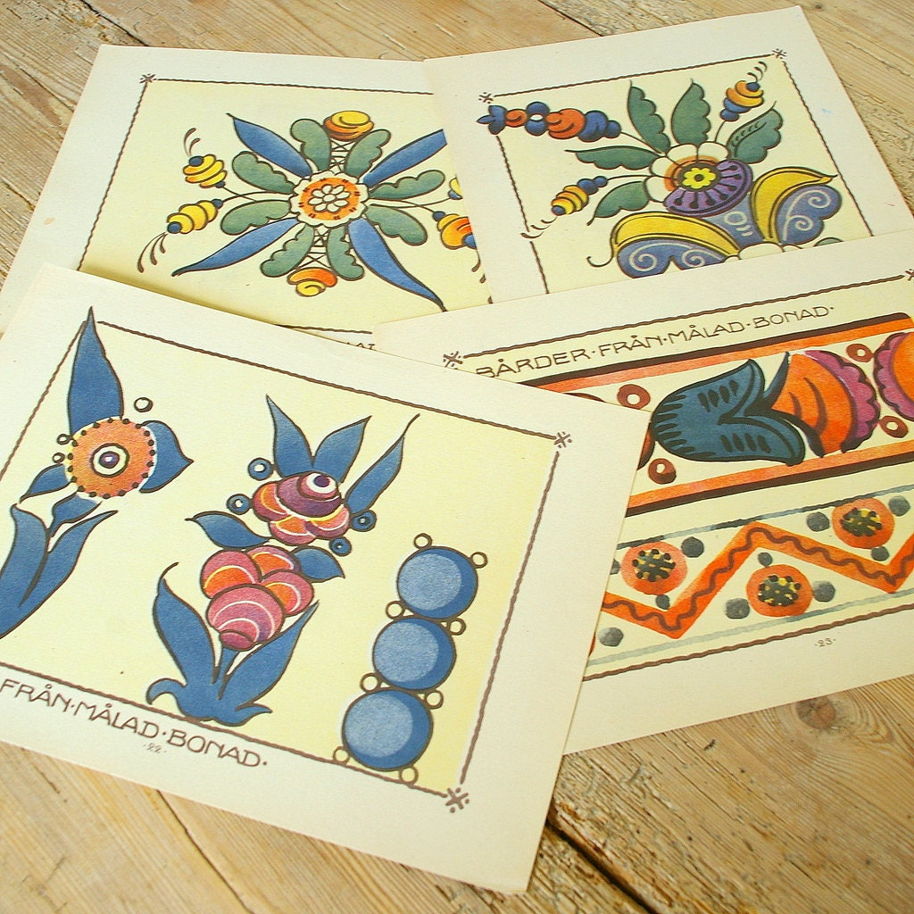 Vintage wall decor Swedish folk art.Swedish Crewel pattern.Wall art ...