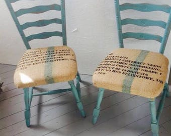 Hessian chairs. Pair of turquoise painted wooden chairs upholstered with hessian coffee bean sack