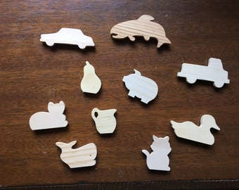 Hand Carved Wooden Magnets