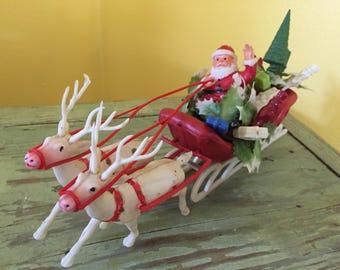 """Plastic Santa Sleigh & Reindeer 11"""""""