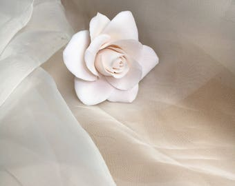 Rose hair pin of clay flowers flowers hair accessories bridal in ivory