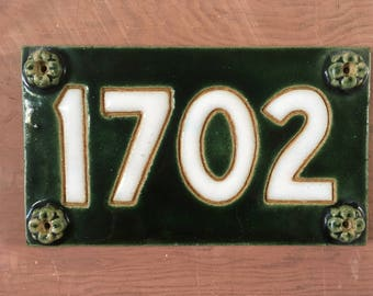 Handmade Stoneware Address Plaque 1702