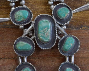 Vintage Navajo Squash Blossom with Green Turquoise