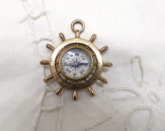 Vintage Victorian Rolled Gold Large Compass Watch Fob Or Charm In The Shape Of A Ships Wheel Circa 1880