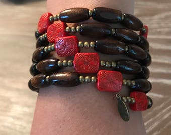 Red and bronze rosary wrap bracelet