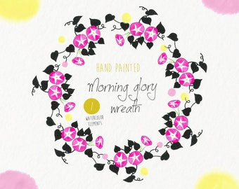 Watercolor wreath- hand drawn flowers, Morning glory, illustration, clip art,invitations, card making, printable, instant download