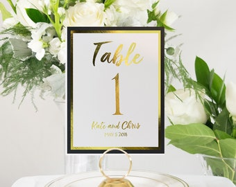 Personalized Gold Foil and Black Table Numbers Handmade Wedding #0129