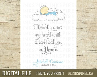 Personalized Baby Memorial Print, Infant Loss, Child Loss, Miscarriage, Stillbirth, Memorial Gift, Angel Baby, Sympathy Gift, DIGITAL FILE