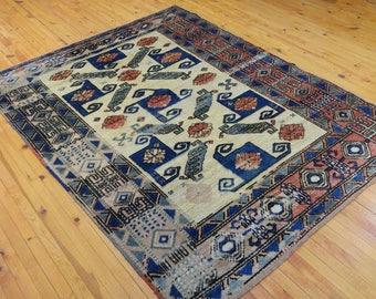 Stunning Antique Cr1920-1940s Armenian Nagorno-Karabakh 5x7ft Wool Pile Rug