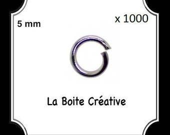 1000 JUNCTIONS 5 mm connectors in SILVERED METAL rings