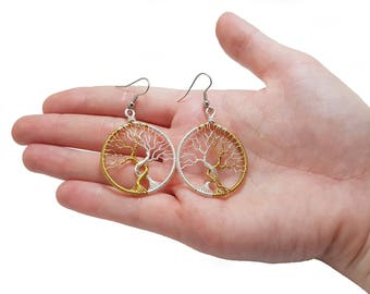 FREE SHIPPING Tolkien inspired wire wrap Trees of Valinor earrings, Trees of Valinor, Silmarillion, Laurelin and Telperion,