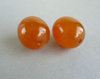Antique pressed amber beads, Old phenolic beads, Honey color