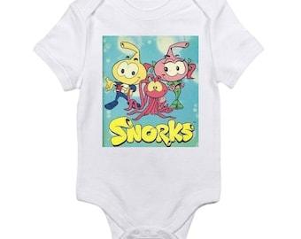 Custom Snorks vintage style baby onesie