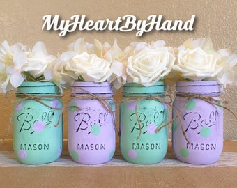 Green Mint and Lavener Baby Shower Centerpieces, Pint Size Painted Mason Jars, Distressed Flower Vases, Rustic Home Decor, Nursery Decor