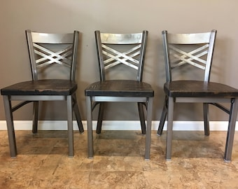 Reclaimed Dining Chair  Set of 3   In Gun Metal Gray Metal Finish    X  Back Metal   Restaurant Grade -18 Inch High Dining Chair