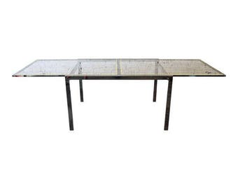 Design Institute of America Chrome and Glass Extension Dining Table