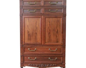 Baker Furniture French Regency Style Cherry Wood Armoire Dresser Chest