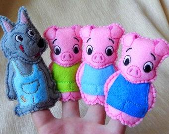 Three little piggy and the big bad wolf. Felt finger puppets 3 piggy and wolf.  Felt finger puppets. Finger puppets. Animal finger puppets.