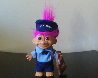 "Vintage Russ Troll Doll Mailman, Postal Worker, US Mail Carrier, Purple Hair Trolls 5"""