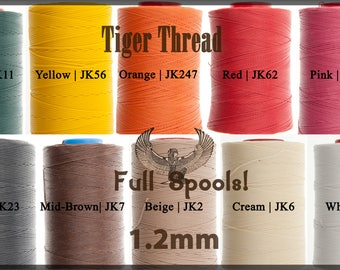 Tiger Thread 1.2mm - Wholesale - Full 500m Spools - Factory Sealed - Ritza 25 Waxed Polyester Thread - For Leather Hand Sewing