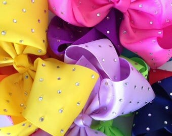 8 inch rhinestone bows. only one left in each colour.