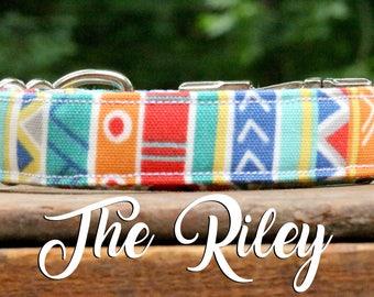 Dog Collar Stripes, Striped Dog Collar, Colorful Dog Collar, Fun Dog Collar, Southwest Design Dog Collar, Bright Dog Collar, Aztec Collar