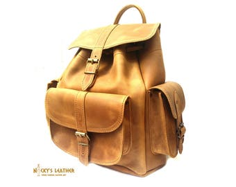 BACKPACK  Waxed Canvas Backpack from Waxed Full Grain Leather