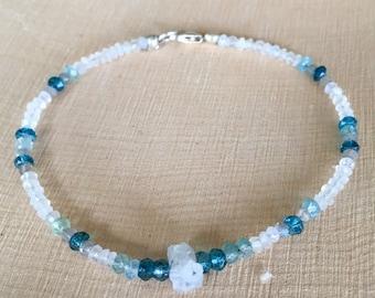 Dainty Rainbow Moonstone, Blue Topaz, Aquamarine, and Labradorite Beaded Stacking Bracelet