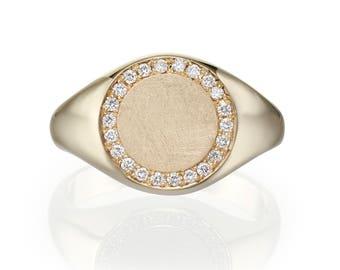 Gold Signet Ring. Diamond Ring. Pinky Ring. Signet Ring Women. Diamond Signet Ring. Round Top Ring. White Diamond Signet Ring. 14K Gold