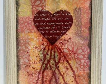 Bleeding Heart, framed, Mixed Media, art