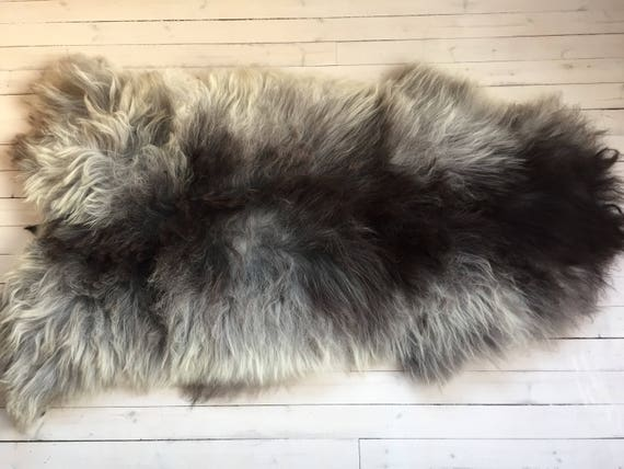 Sheepskin rug soft, volumous throw sheep skin long haired Norwegian pelt 17212