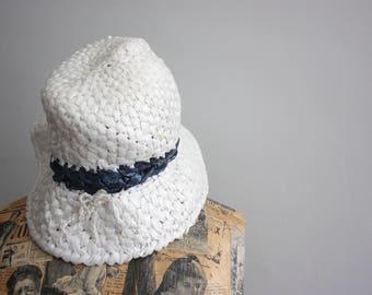 Vtg 70's Plastic Woven Hat