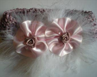 Old baby pink headband. Satin flower and swan feather. Hand made.