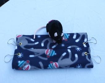 Sock Monkey Tube Hammock for Rats or other small animals, rat hammock, ferret hammock, glider hammock