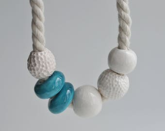 Massive ceramic necklace - Sea collections - Asymmetric jewelry - Ocean texture - Handmade ceramic - Gift for mom - Statement necklace  Boho