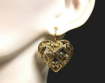 Gold plated filigree heart earrings
