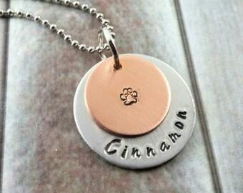 Personalized Dog~ Dog Necklace~ Pet Necklace~ Custom Dog Jewelry ~ Hand Stamped Jewelry~ Animal Jewelry