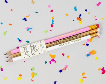 Follow Your Dreams / Believe In Yourself / What If It All Goes Right? - Pack of 3 Jolly Good Pencils - Luxury Gold Foil Stationery