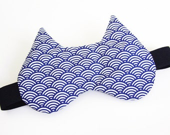 Sleeping mask, sleeping cat - blue Japanese pattern (hide-eyes, rest, sleep, NAP)