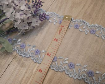 2Yards Light Blue Talle Lace Trim Flowers Floral Embroidered Talle Lace 3.5 Inches