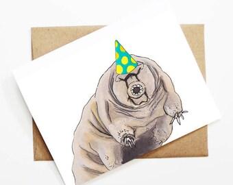 Birthday Card - Tardigrade, Animal Birthday, Animal Card, Cute Greeting Card, Kids Birthday Card, Baby Birthday Card, Blank Tardigrade Card
