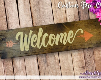 Custom Distressed Hand Painted Welcome Wood Signs for Home Decor, Accents, Displays, Furniture