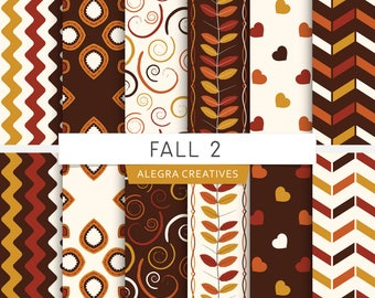 Fall digital paper, autumn colors, leaves, hearts, twirls, brown, orange, yellow, scrapbook papers (Instant Download)