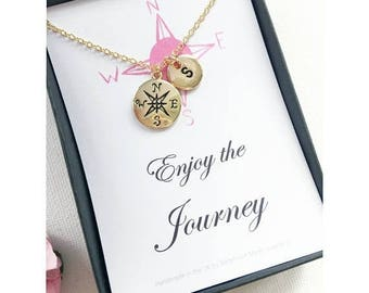 VACATION SALE Gold compass necklace, journey necklace, graduation gift, travel necklace, good luck, compass necklace, bon voyage gift, MCJGF