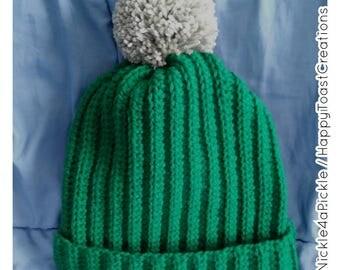 Green Crochet Pompom Hat
