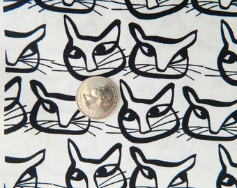 Fat Quarter HEMMA Cats Black by Lotta Jansdotter For Windham Fabrics