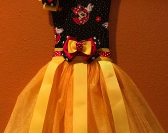 Red, Black, and Yellow Minnie Mouse Tutu Bow Holder, Hair Bow Holder