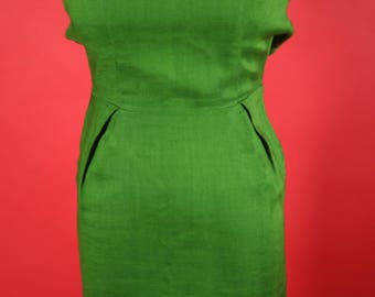XS Green Dress with Metal Zipper
