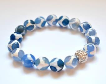 Blue Tibetan Agate & Blue Jade  Stretch Bracelet with Pave Accent Bead, Stretch Agate Bracelet, Nautical Bracelet, Blue Agate, Blue Jade